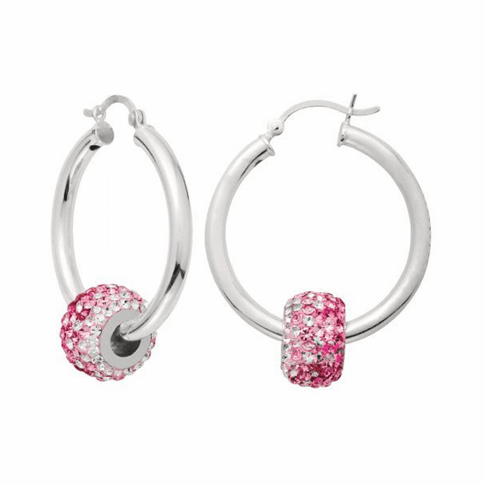 Silver Rhodium Shiny 3.0X30mm Round Hoop Earring with Hinged Clasp