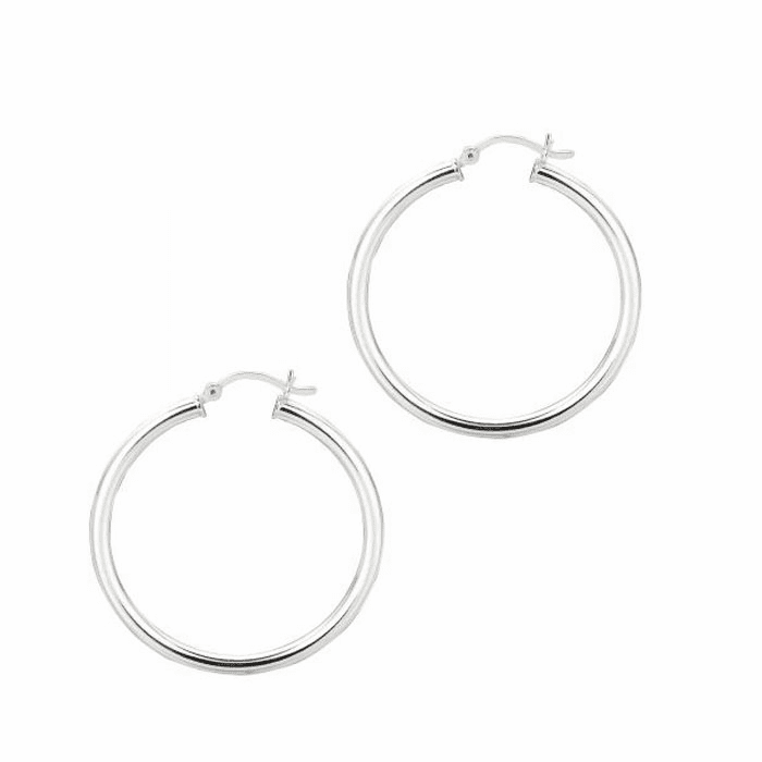 Silver Rhodium Shiny 3.0X35mm Round Hoop Earring with Hinged Clasp