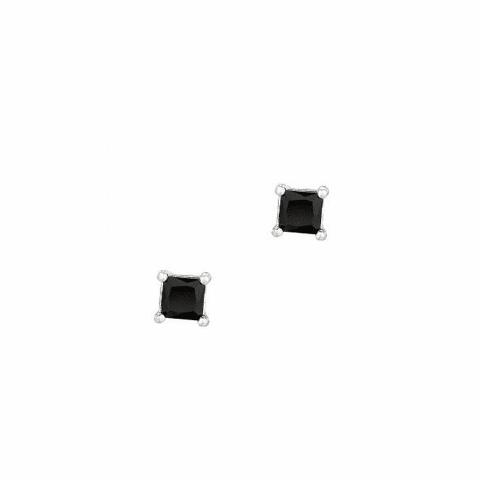 Silver/Rhodium Shiny 4.0mm Black Square CZ Stud Post Back Earring