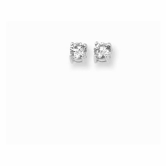 Silver/Rhodium Shiny 4.0mm Clear Cubic Zirconic Post Back Earring