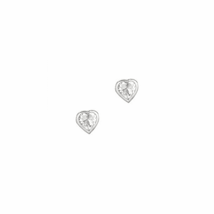 Silver/Rhodium Shiny 4.0mm Clear Heart Cubic Zirconia Stud Earring
