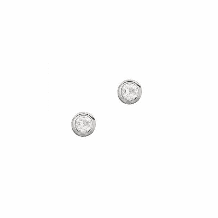 Silver/Rhodium Shiny 4.0mm Clear Round Faceted CZ Stud Earring