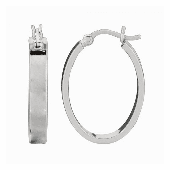 Silver Rhodium Shiny 4.0X14mm Oval Hoop Earring with Hinged Clasp