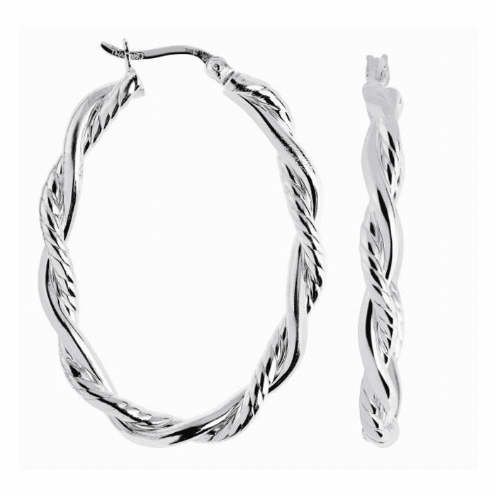 Silver Rhodium Shiny 4.0X22mm Twisted Oval Hoop Earring