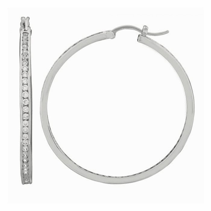 Silver/Rhodium Shiny 4.0X45mm Clear CZ Hoop Earring with Hinged Clasp