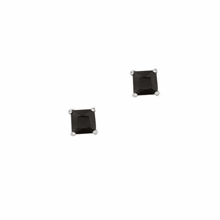 Silver/Rhodium Shiny 5.0mm Black Square CZ Stud Post Back Earring