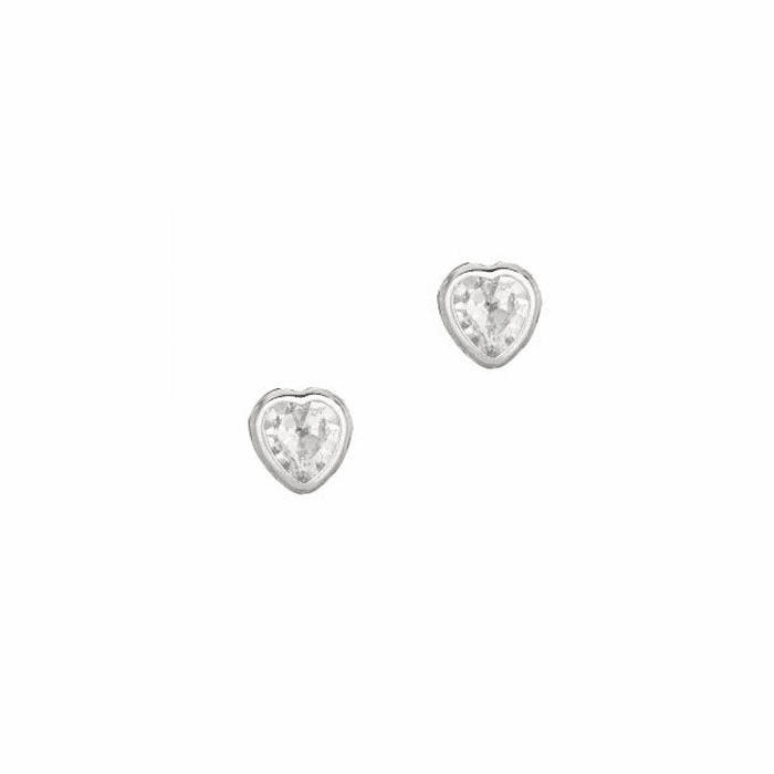 Silver/Rhodium Shiny 5.0mm Clear Heart Cubic Zirconia Stud Earring