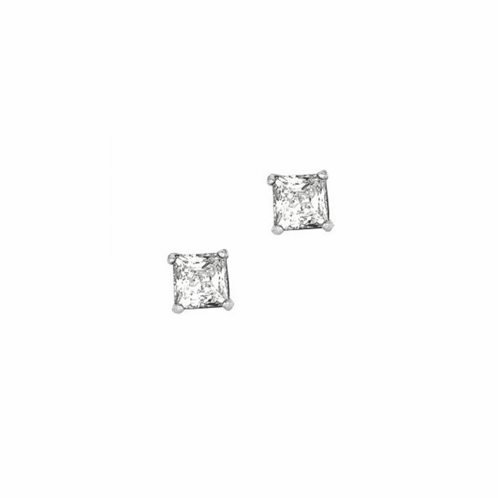 Silver/Rhodium Shiny 5.0mm Clear Square CZ Post Back Earring