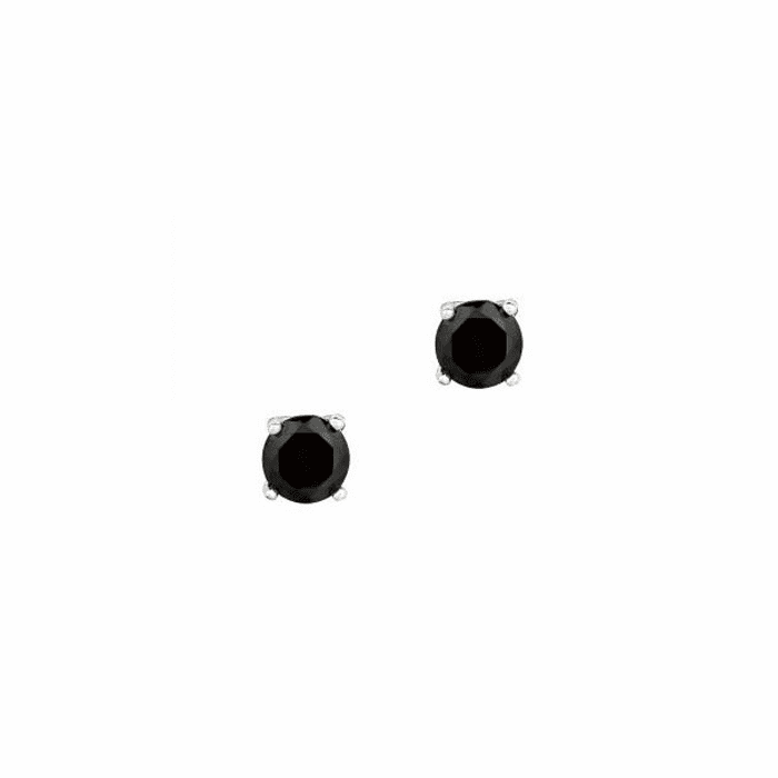 Silver/Rhodium Shiny 5.0mm Round Black CZ Stud Post Back Earring