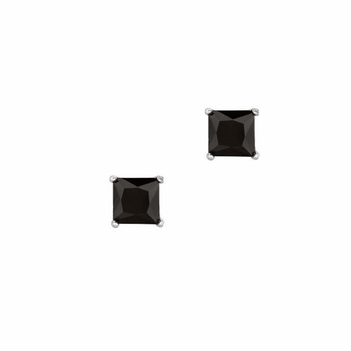 Silver/Rhodium Shiny 6.0mm Black Square CZ Stud Post Back Earring