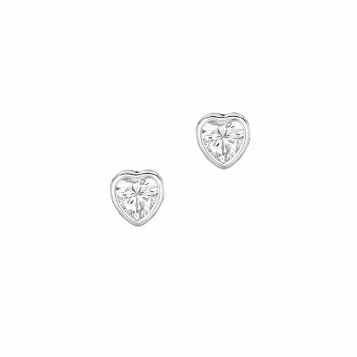 Silver/Rhodium Shiny 6.0mm Clear Heart Cubic Zirconia Stud Earring