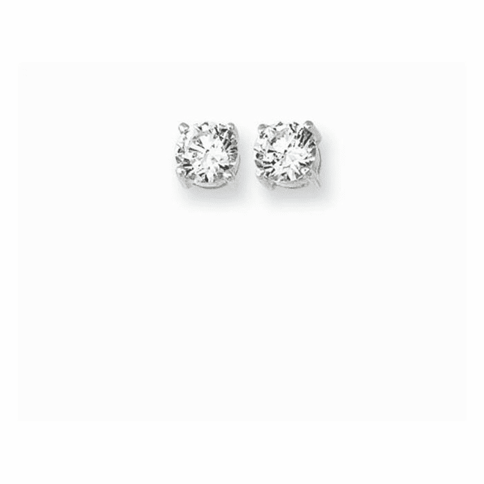 Silver/Rhodium Shiny 6.0mm Clear Round CZ Post Back Earring