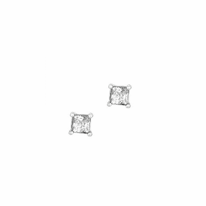 Silver/Rhodium Shiny 6.0mm Clear Square CZ Post Back Earring