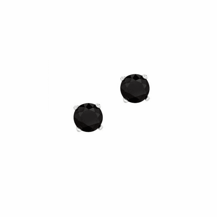 Silver/Rhodium Shiny 6.0mm Round Black CZ Stud Post Back Earring