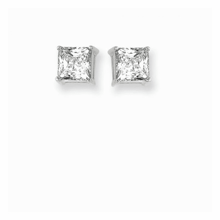 Silver/Rhodium Shiny 6.0mm Square Clear Cubic Stud Post Back Earring