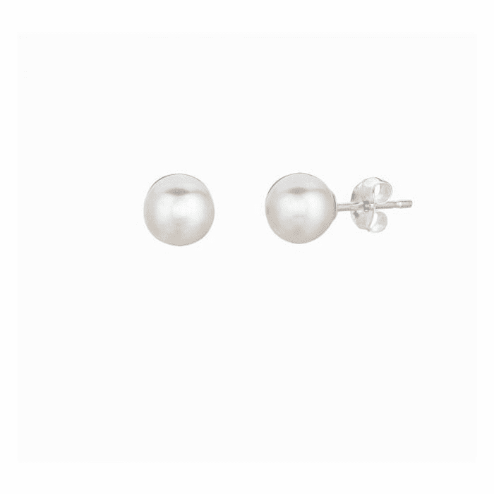Silver/Rhodium Shiny 6.0mm White Fresh Water Pearl Stud Earring