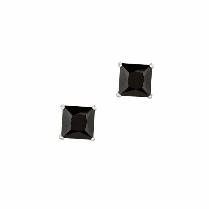 Silver/Rhodium Shiny 7.0mm Black Square CZ Stud Post Back Earring