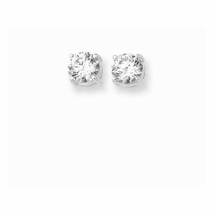 Silver/Rhodium Shiny 7.0mm Clear Round Faceted CZ Stud Earring