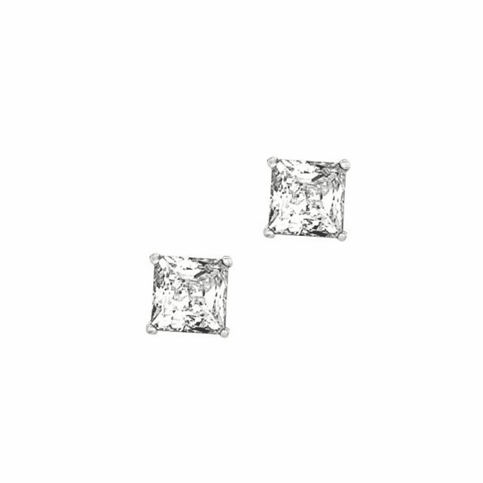 Silver/Rhodium Shiny 7.0mm Clear Square CZ Post Back Earring