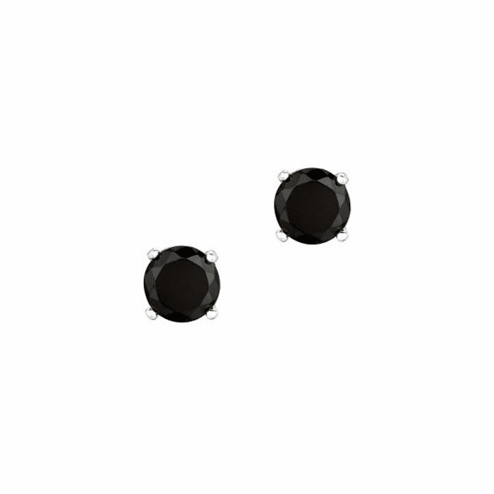 Silver/Rhodium Shiny 7.0mm Round Black CZ Stud Post Back Earring