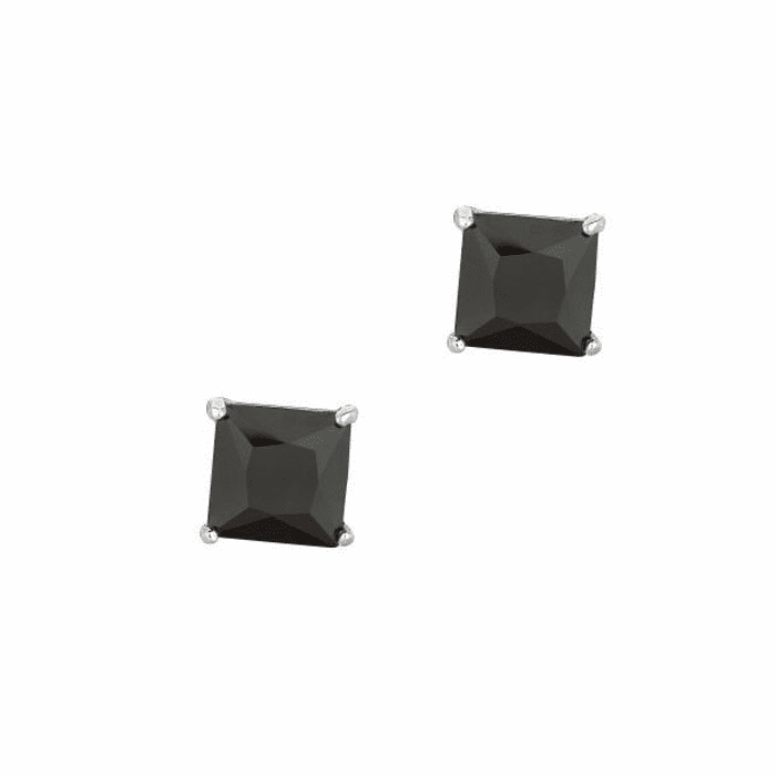 Silver/Rhodium Shiny 8.0mm Black Square CZ Stud Post Back Earring