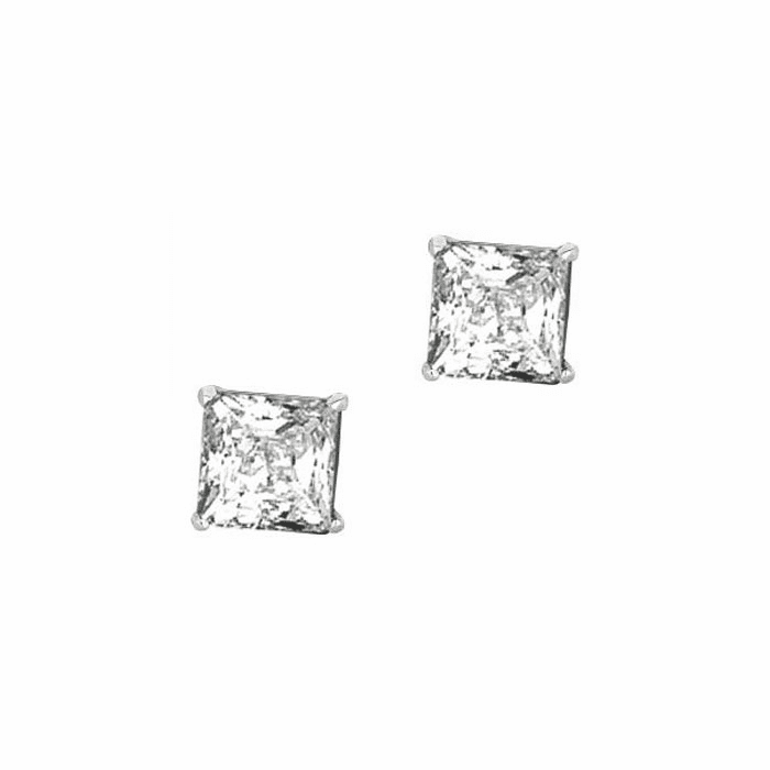 Silver/Rhodium Shiny 8.0mm Square Clear CZ Stud Post Back Earring