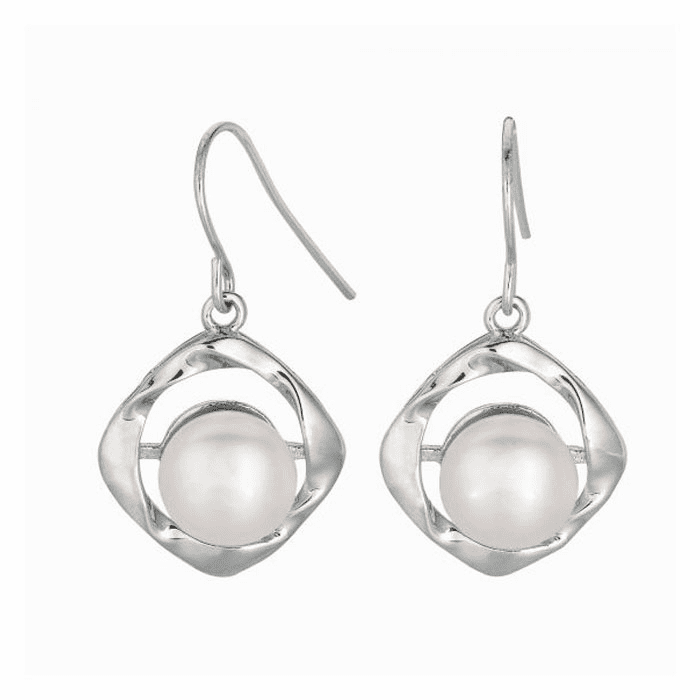 Silver/Rhodium Shiny 8.8mm White Pearl Twisted Dangle Earring