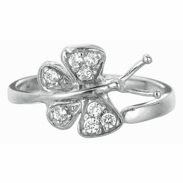 Silver/Rhodium Shiny By Pass Like Butterfly Top Toe Ring with White CZ