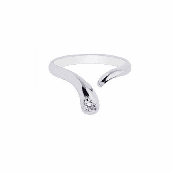 Silver/Rhodium Shiny By Pass Like Toe Ring with 1-Cubic Zirconia