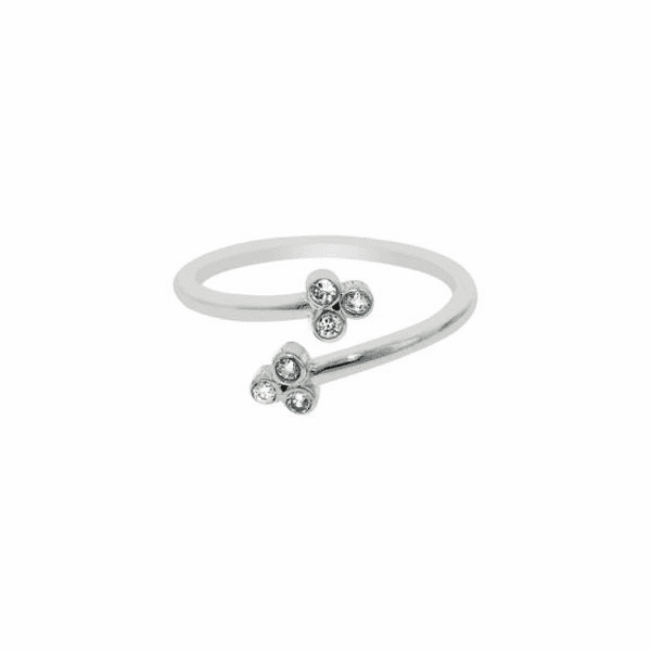 Silver/Rhodium Shiny By Pass Like Toe Ring with 2 Flower with CZ
