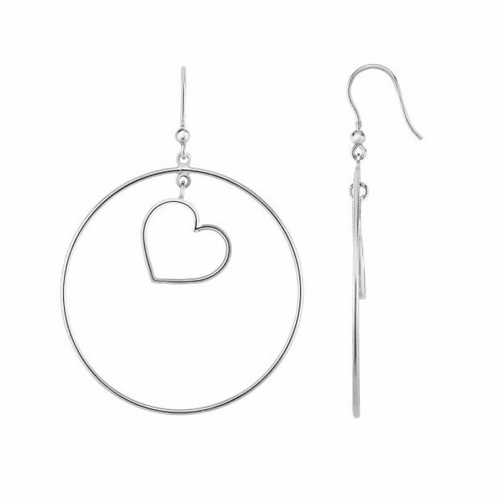 Silver Rhodium Shiny Circle+Heart CZ Earring with Euro Wire Clasp