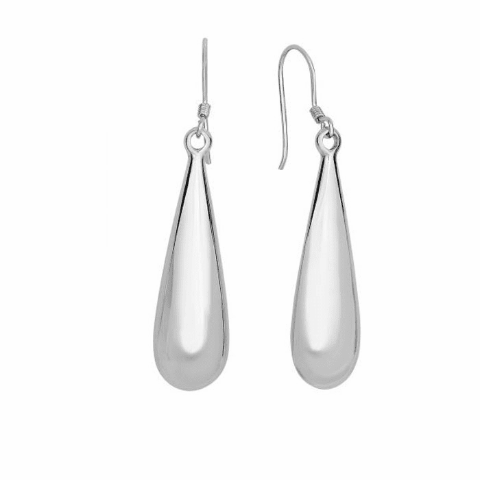 Silver Rhodium Shiny Dangle Puffed Long Tear Drop Dangle Earring