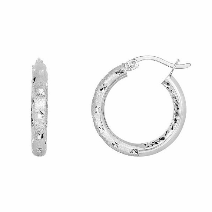 Silver Rhodium Shiny Diamond Cut Round Hoop Earring with Hinged Clasp