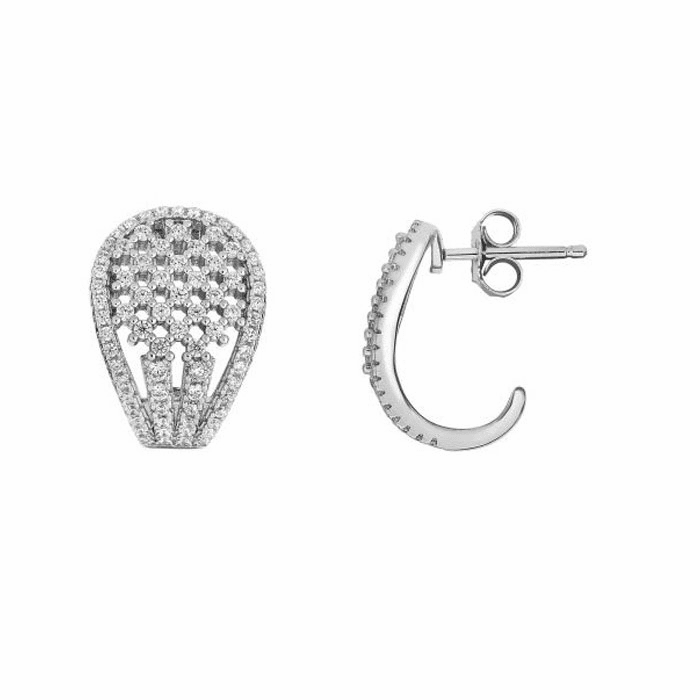 Silver Rhodium Shiny Fancy Curved Oblong Shape Earring/White CZ