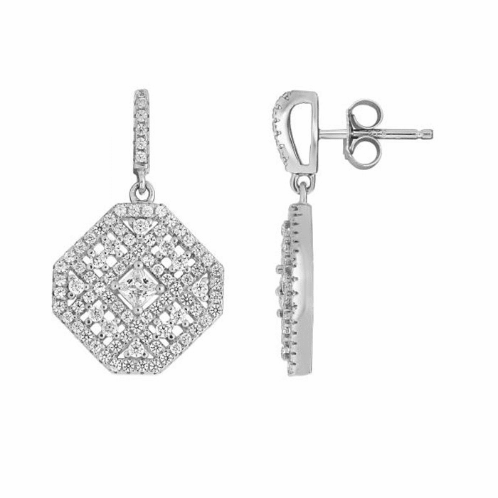 Silver Rhodium Shiny Fancy Marquise Shape Earring/White CZ