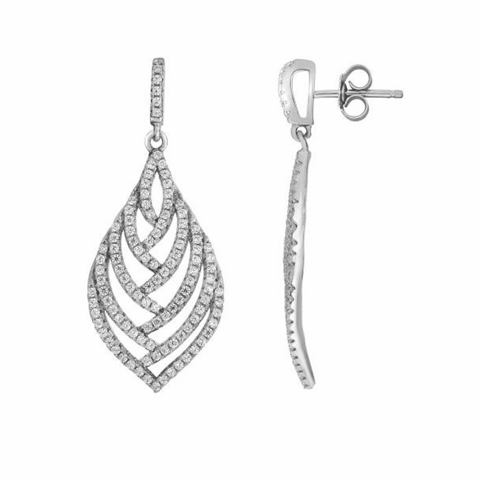 Silver Rhodium Shiny Fancy Teardrop Earring/White CZ