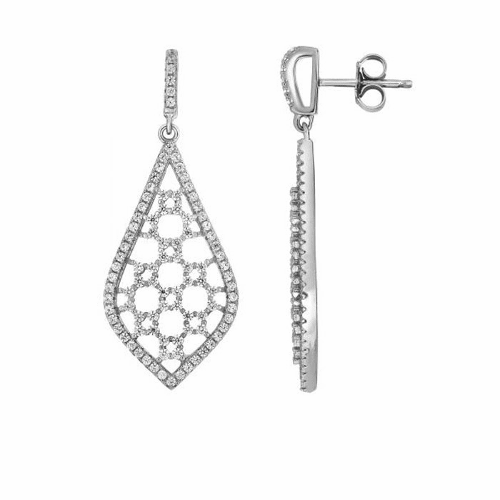 Silver Rhodium Shiny Fancy Teardrop Shape Earring/White CZ