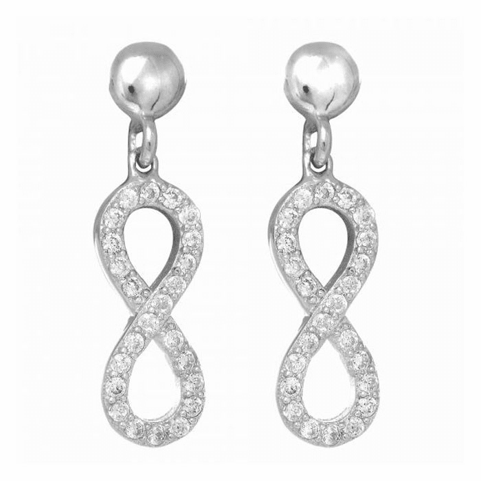 Silver/Rhodium Shiny Figure # 8 Post Earring with White Stone