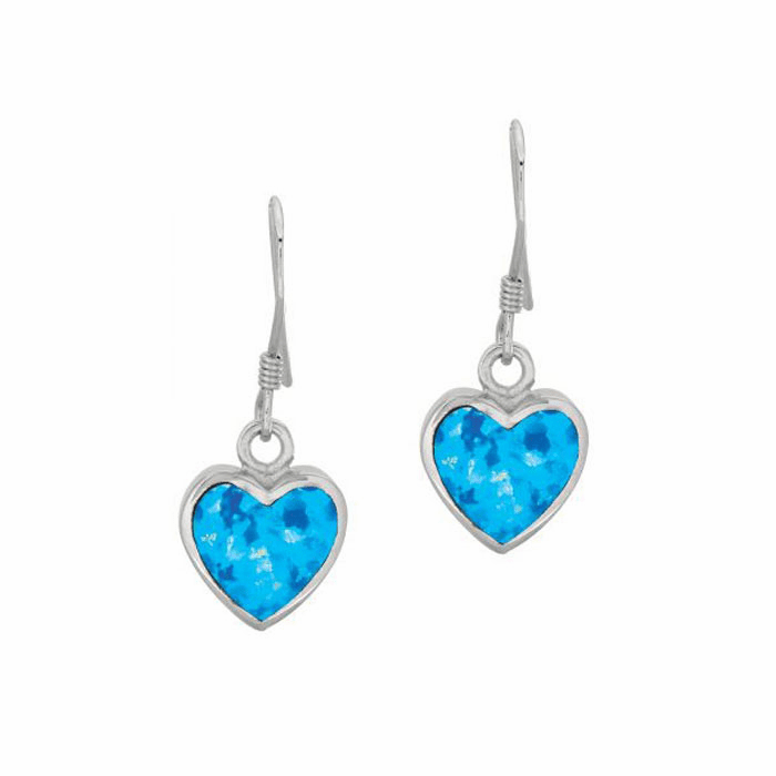 Silver/Rhodium Shiny Heart Shape Drop Earring with Created Opal