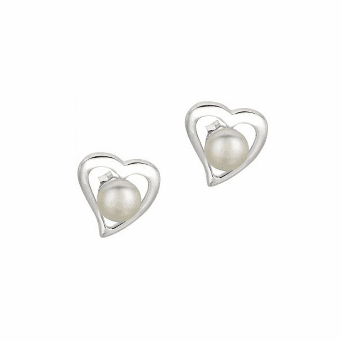 Silver/Rhodium Shiny Open Centered Heart 6.5mm White Pearl Earring