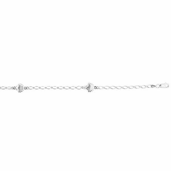 Silver Rhodium Shiny Oval Link/Station Shell Charm Anklet