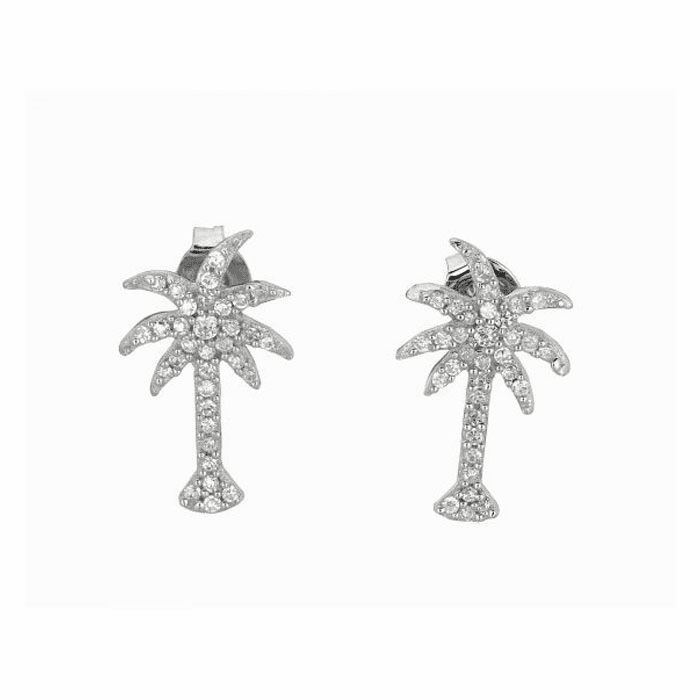 Silver/Rhodium Shiny Palm Tree Sea Life Post Earring with White CZ