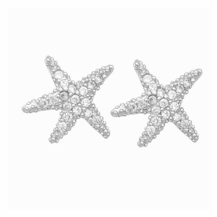 Silver/Rhodium Shiny Small Starfish Post Earring with White CZ