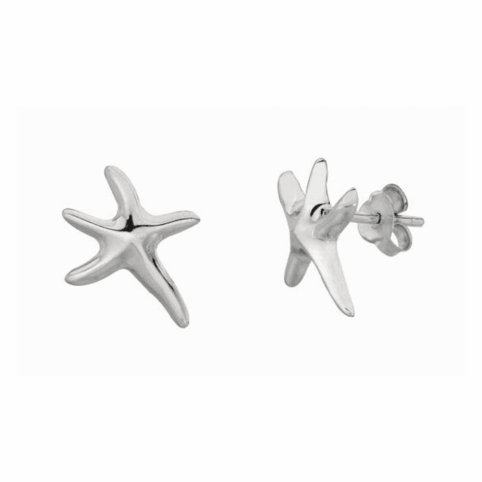 Silver Rhodium Shiny Small Starfish Sea Life Post Earring - AGFE191