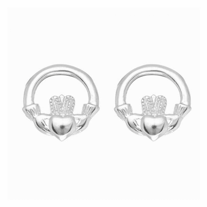 Silver/Rhodium Shiny Stampato Claddagh Post Earring with Snap Clasp