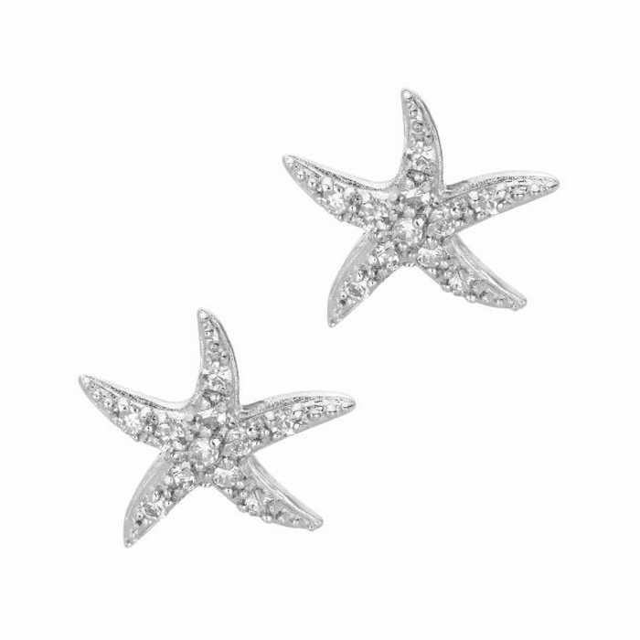 Silver/Rhodium Shiny Starfish Sea Life Post Earring with White CZ