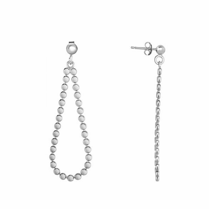 Silver Rhodium Shiny Tear Drop Bead Earring with Push Back Clasp