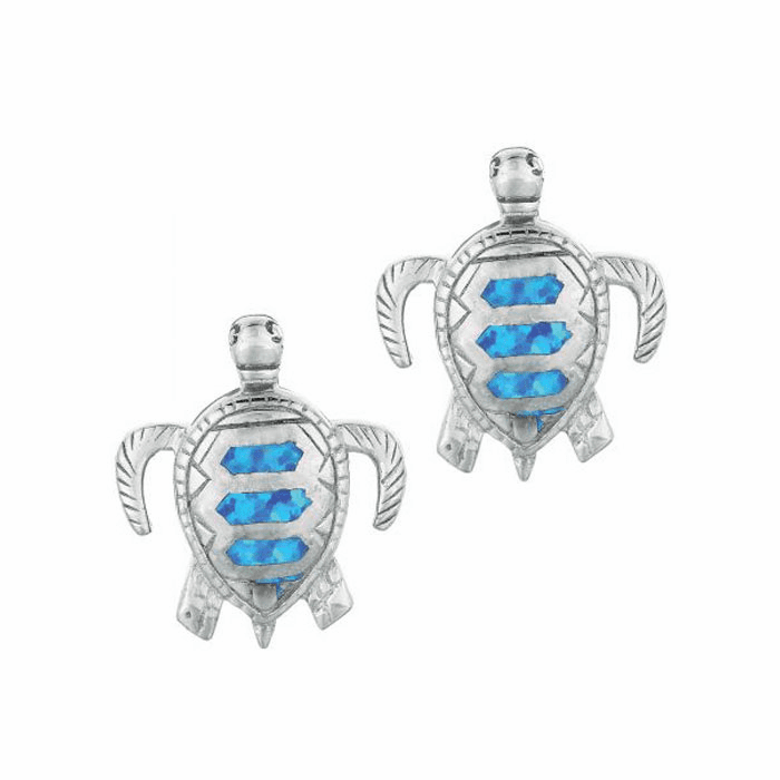 Silver/Rhodium Shiny Textured Created Opal Turtle Drop Earring