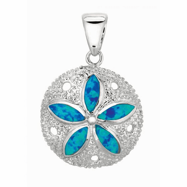 Silver/Rhodium Shiny Textured Opal Flower On Sand Dollar Pendant