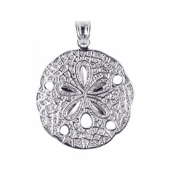 Silver/Rhodium Shiny Textured Sand Dollar Sea Life Pendant - AGCH130